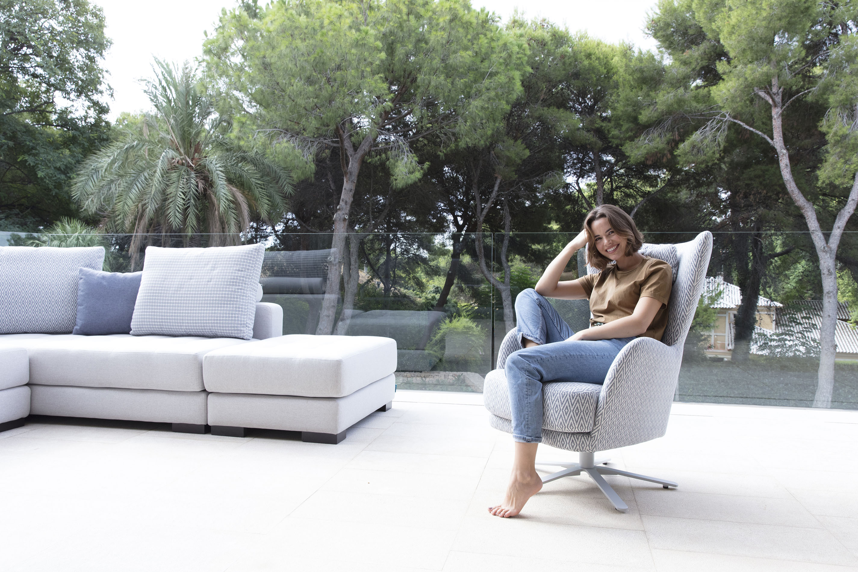grey fabric with silver legs, corner grey sofa with block wooden legs, swing chair that turns around,