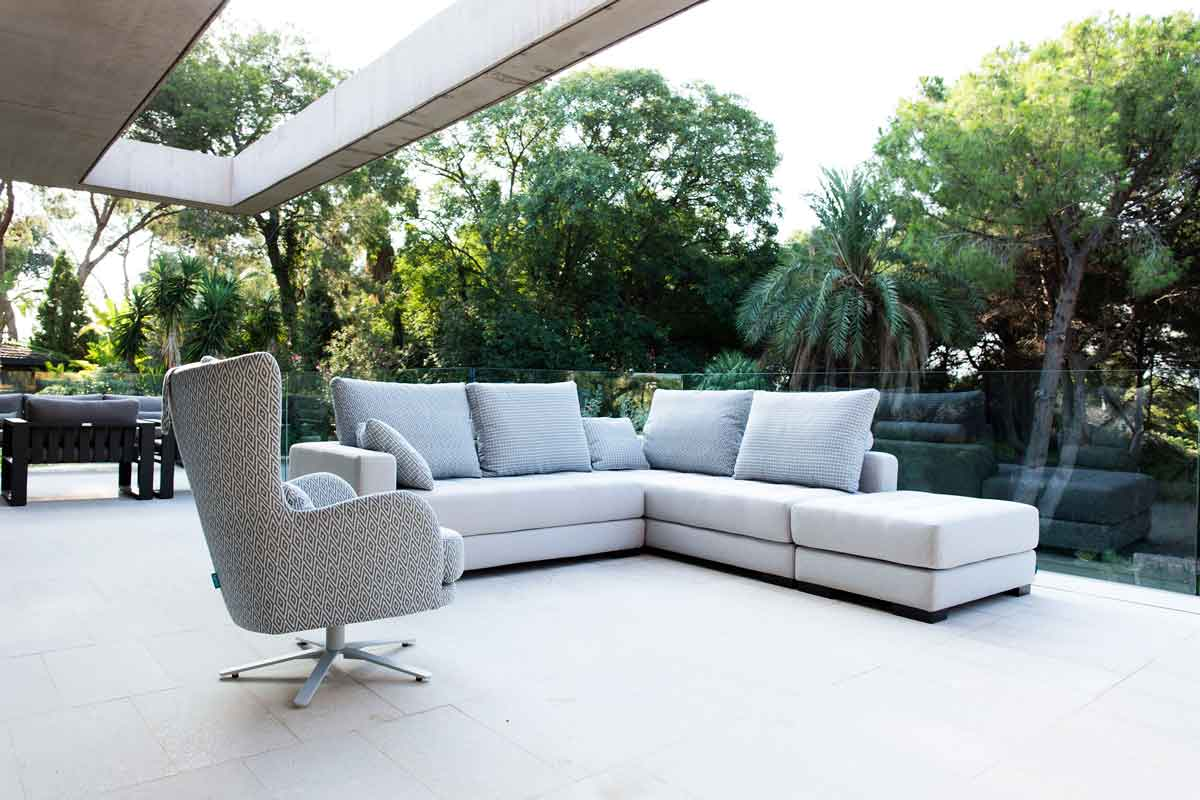 grey fabric fama sofa with dark wooden legs, swing chair, adjustable fabric to all of the products,