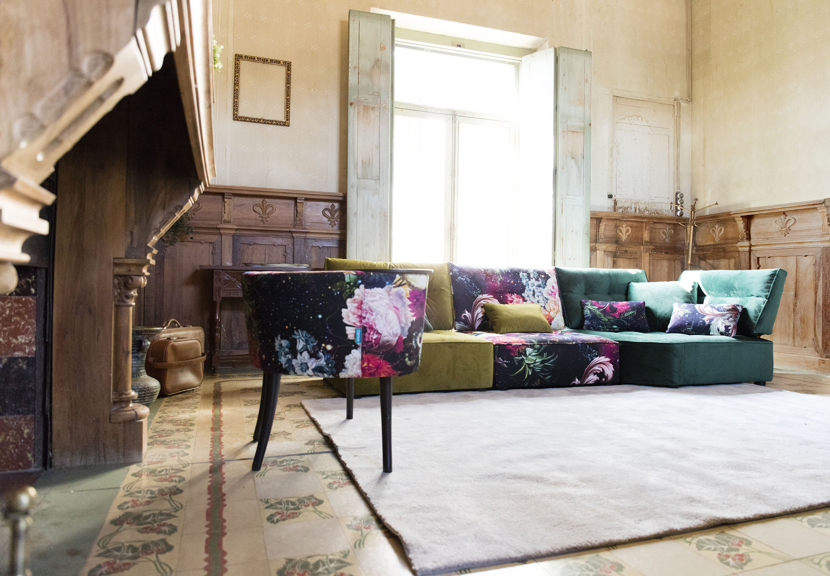 colourful sofa in pieces with flowers low with no legs, adjustable sofa pieces