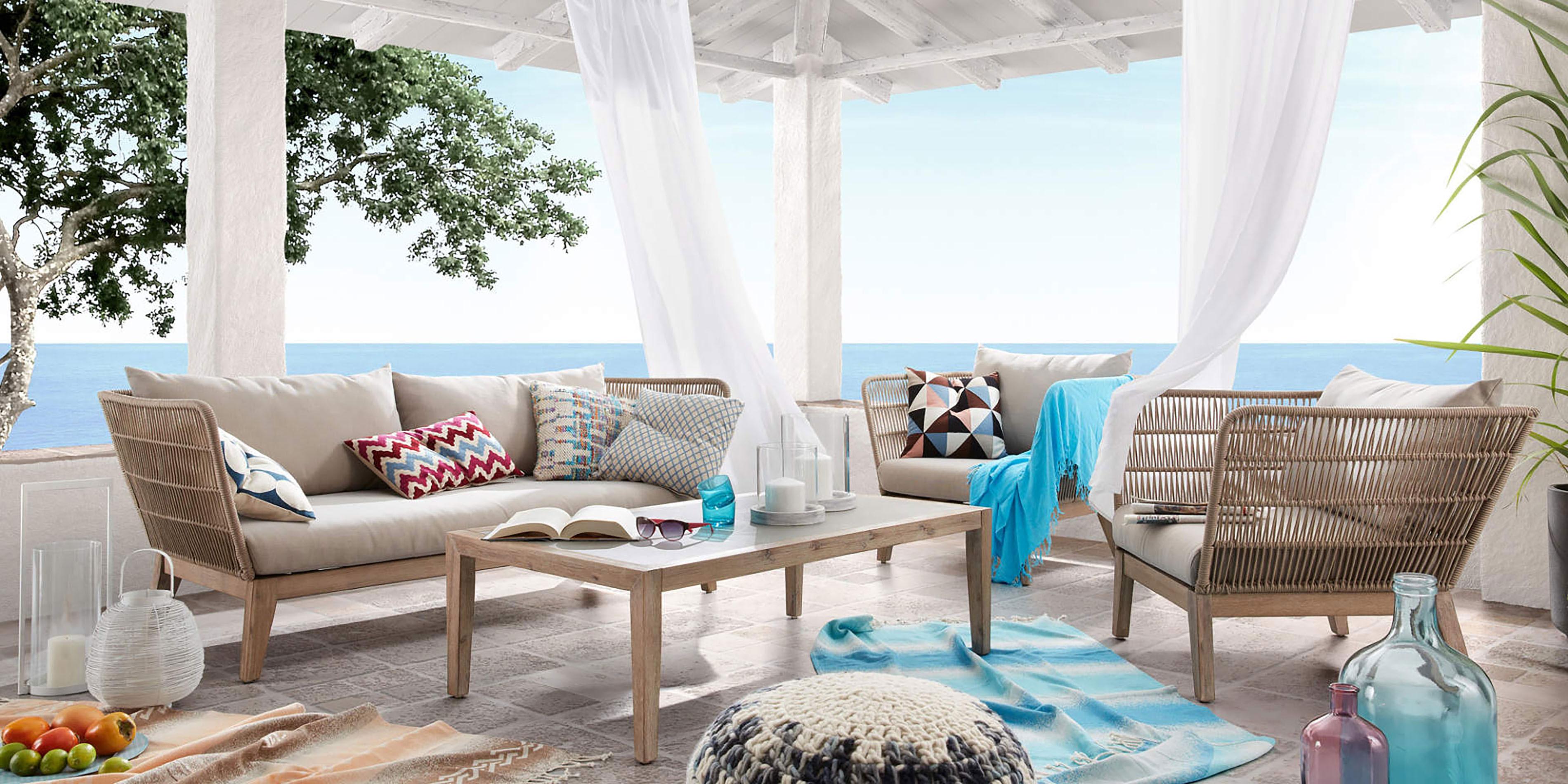 rattan sofa set, beige living set, sofa and armchair set, salonaki exoterikou xorou se giinous xromatismous, salonaki me sxinia gia exo, rattan modern outdoor furniture,