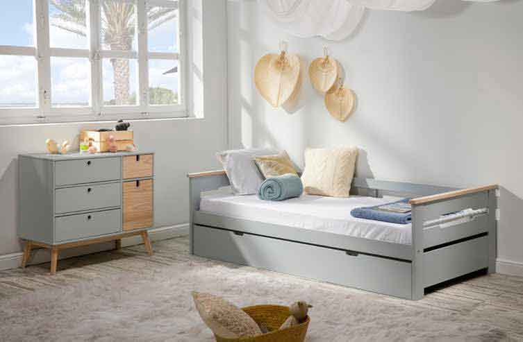 grey wooden single kid bed small size extendable second mattress, paidiko krevati gkrizo me kafe xilina xeria paidiko krevati,