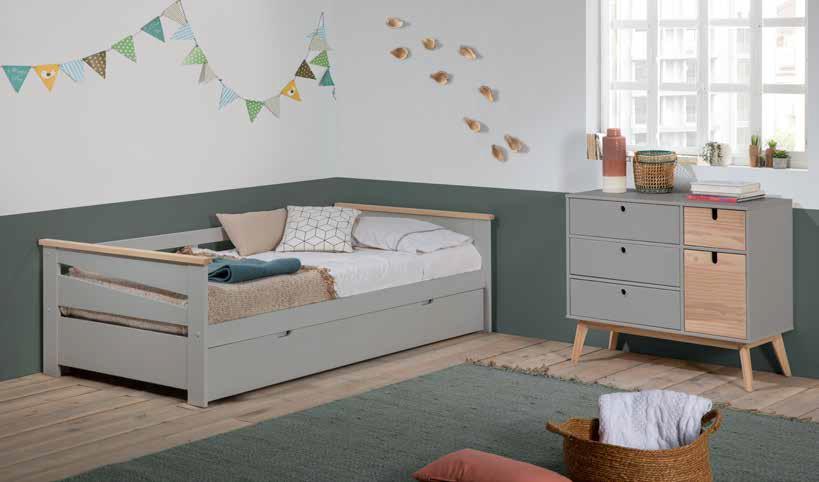 gkrizo xilino paidiko krevati me extra mattress apo kato pou anigei, grey wooden kid bed that can be extendable on the bottom of the bed, extendable extra mattress kids bed, boy bed,
