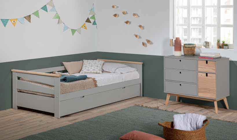 gkrizo xilino paidiko krevati me extra mattress apo kato pou anigei, grey wooden kid bed that can be extendable on the bottom of the bed, extendable extra mattress kids bed, boy bed,