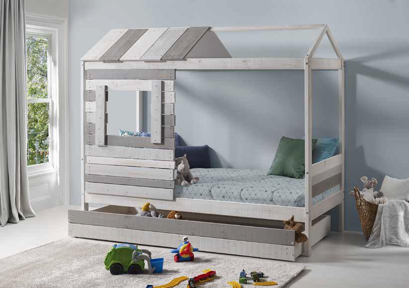 grey wooden colorful bed with extendable mattress on the bottom, xilino mono kravataki gia paidia se sximatismo spitaki,
