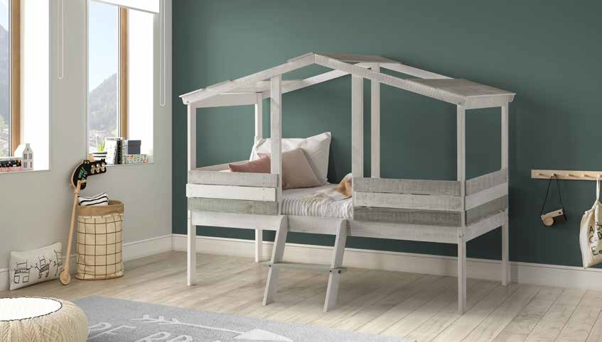anipsomeno krevati se sximatismo spitiou me skala enomeni, kids bed in grey shades colors wwith stairs,