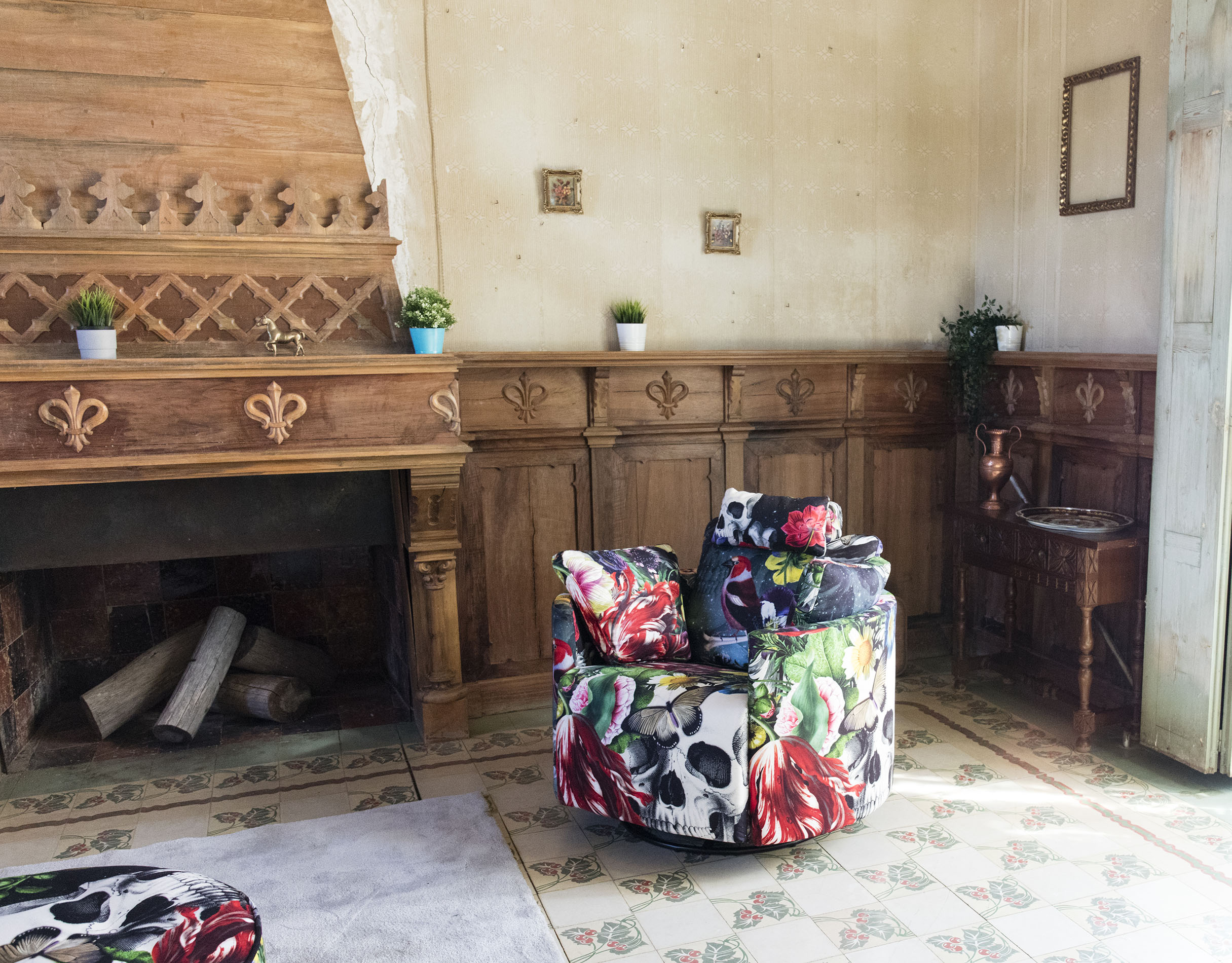 patterned crazy armchair with skeleton and flowers, rocking chair, swing chair comfy chair,