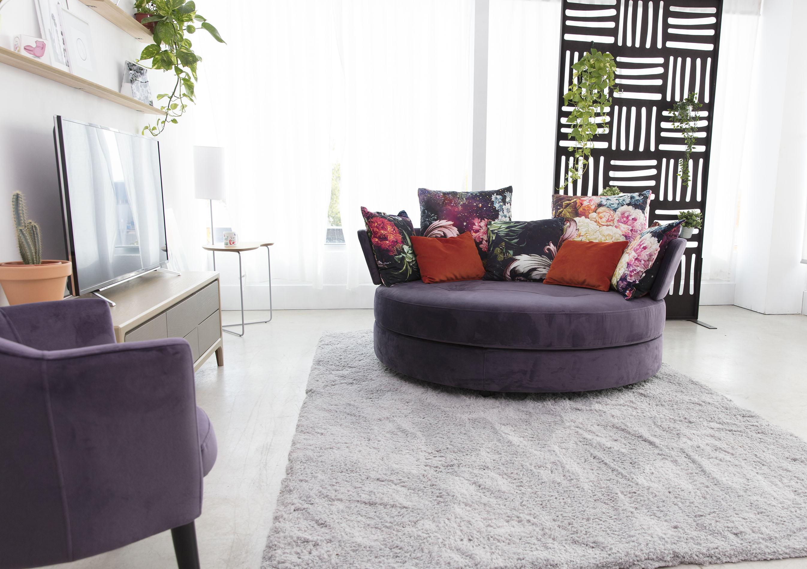 purple fabric velvet armchair for 2 people,