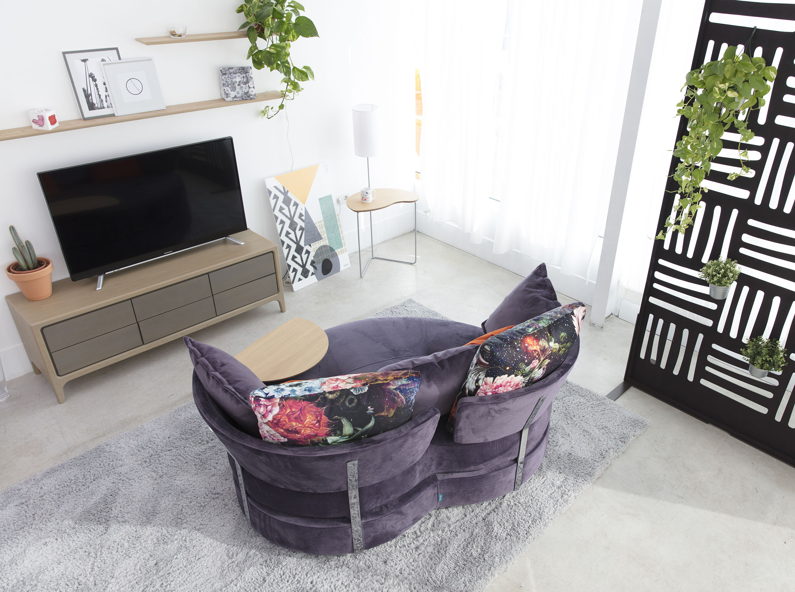 velvet armchair back side view low height with no legs,