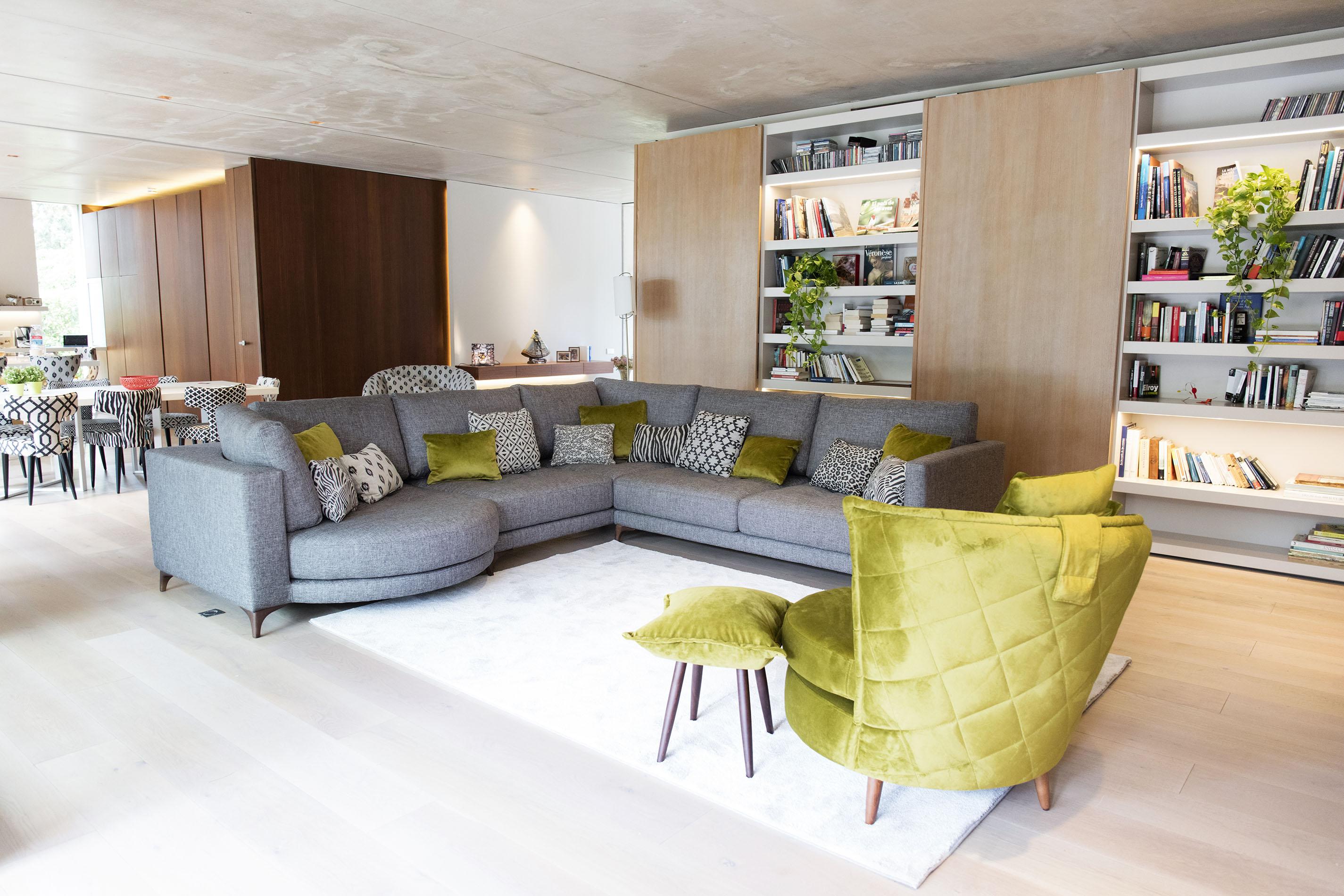 grey fabric corner sofa with adjustable fabrics mustard and wooden legs,
