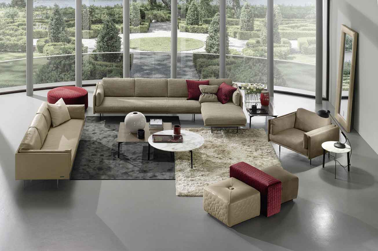 living set, fabric corner sofa with chaise long, 3-seater sofa with matching armchair beige fabric and leather, marble coffee table and side marble coffee table, carpet white fluffy, grey velvet rug, camel and burgundy puff,