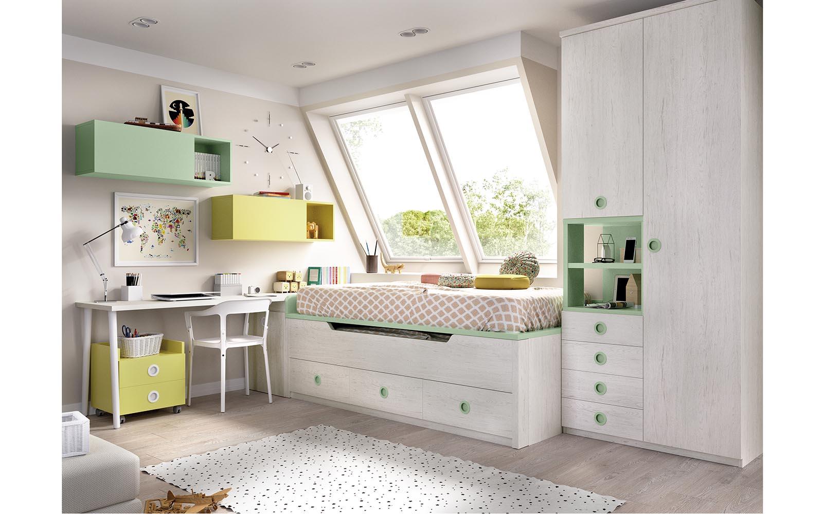 kids bedroom white colors with green details, aspro xilino krevati me prasines leptomeries me sirtarakia kai extra stroma krevatiou,