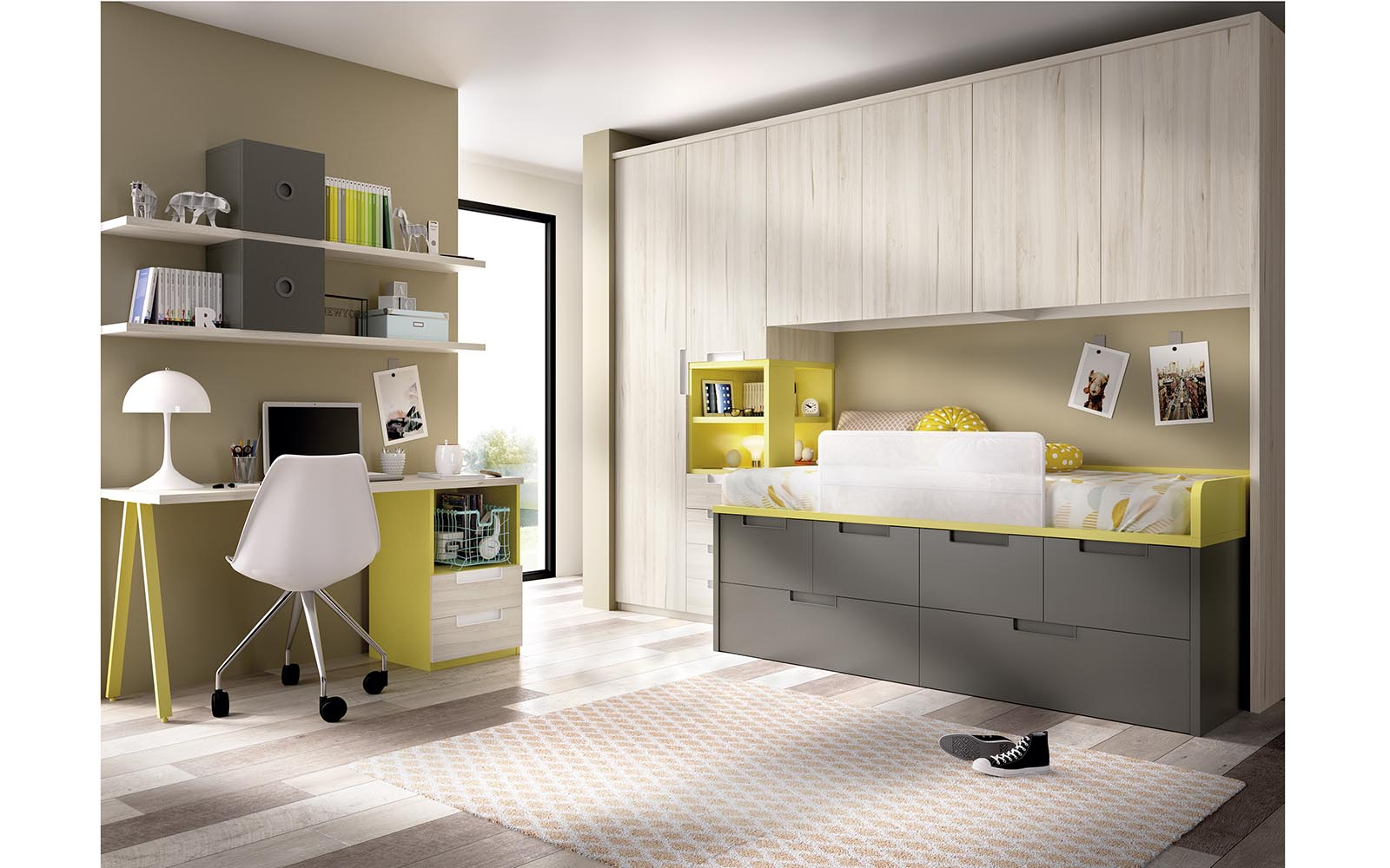 grey wooden high bedroom for kids, adjustable kids bed for your bedroom choices, yellow and grey wooden kids bedroom, paidiko krevati gkrizo xilino me ermarakia apo kato kai kitrines leptomeries,