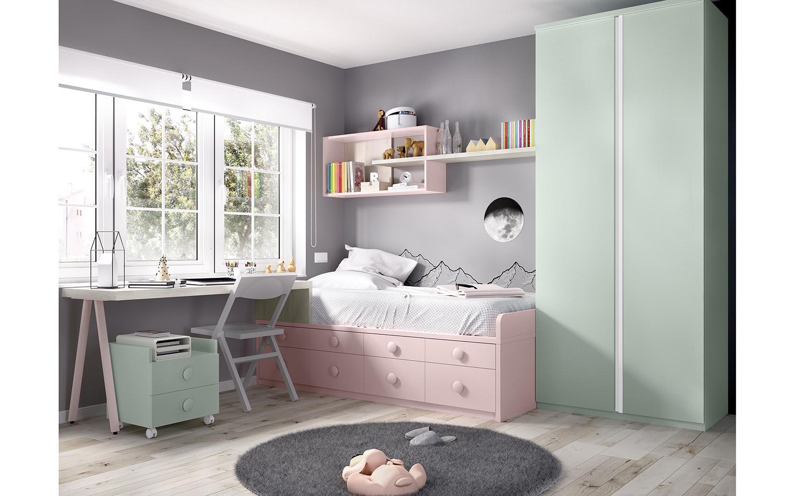 pink kids bedroom, kids bed adjustable to all sizes with space on the bottom of the bed, roz krevati paidiko me ermarakia sto kato meros tou krevatiou, koritsistiko krevati ,girly bedroom,