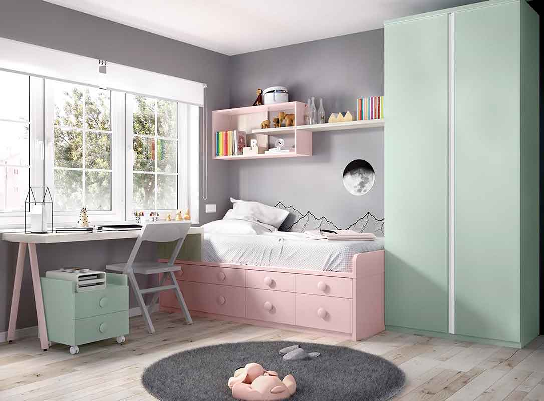 pink kids bedroom, kids bed adjustable to all sizes with space on the bottom of the bed, roz krevati paidiko me ermarakia sto kato meros tou krevatiou, koritsistiko krevati ,girly bedroom,
