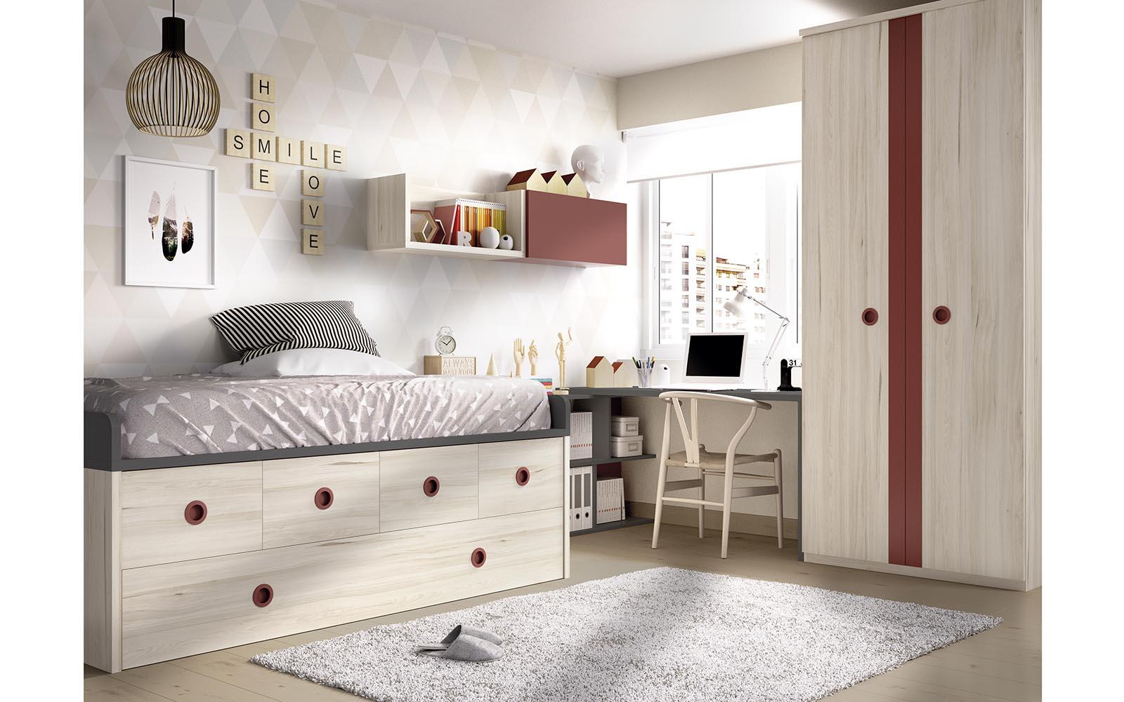 wooden kids bed with red details and space on the bottom, xilino krevati paidiko me kokkines leptomeries me ermarakia sto kato meros tou krevatiou, paidiko domatio,