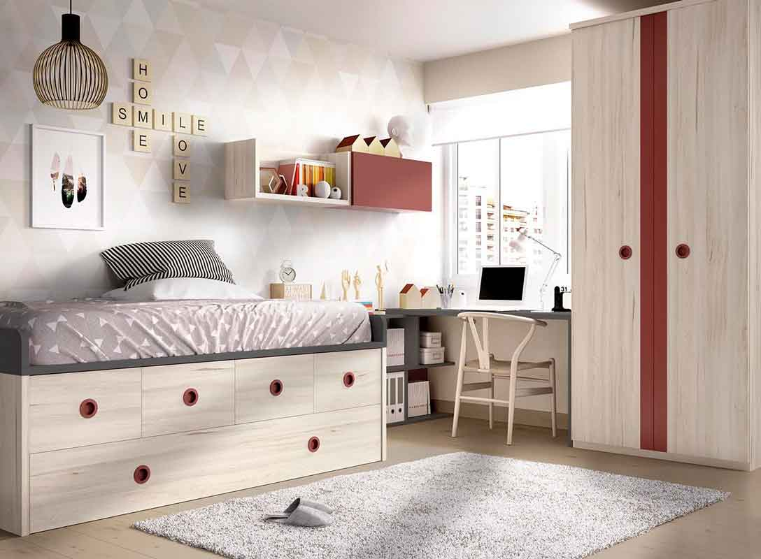 wooden kids bed with red details and space on the bottom, xilino krevati paidiko me kokkines leptomeries me ermarakia sto kato meros tou krevatiou, paidiko domatio,