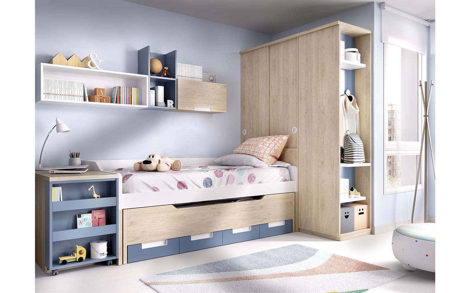 wooden kids bed with white and blue details, extendable mattress wooden bed, krevati me ermarakia pou anoigoun apo kato,