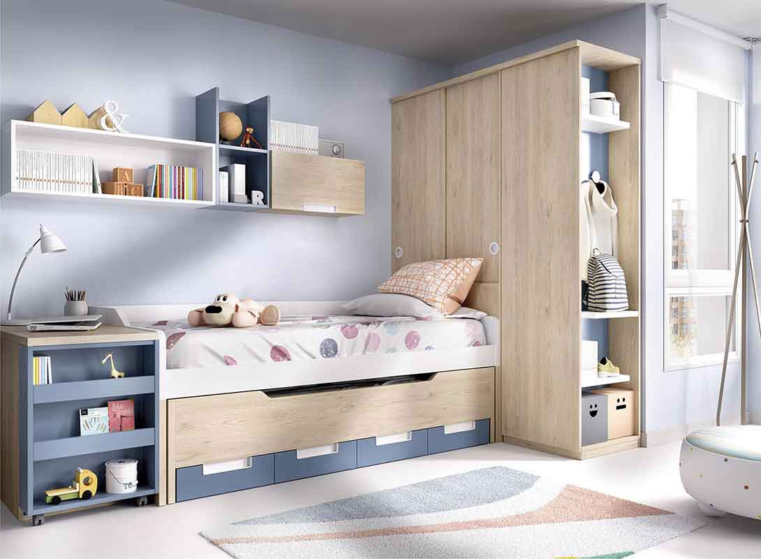 wooden kids bed with white and blue details, extendable mattress wooden bed, krevati me ermarakia pou anoigoun apo kato,