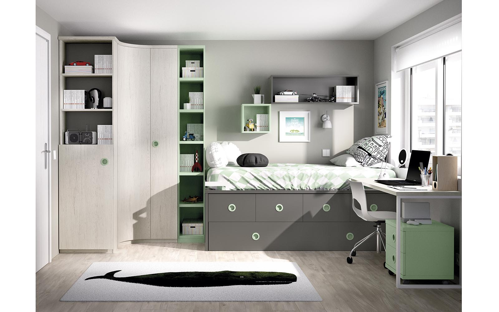 grey wooden kids bedroom, kid bed with green details, high bed, gkrizo xilino krevati me prasines leptomeries, psilo krevati me sirtarakia apo kato, cupboards on the bottom of the bed, extra space on the bottom of the bed,