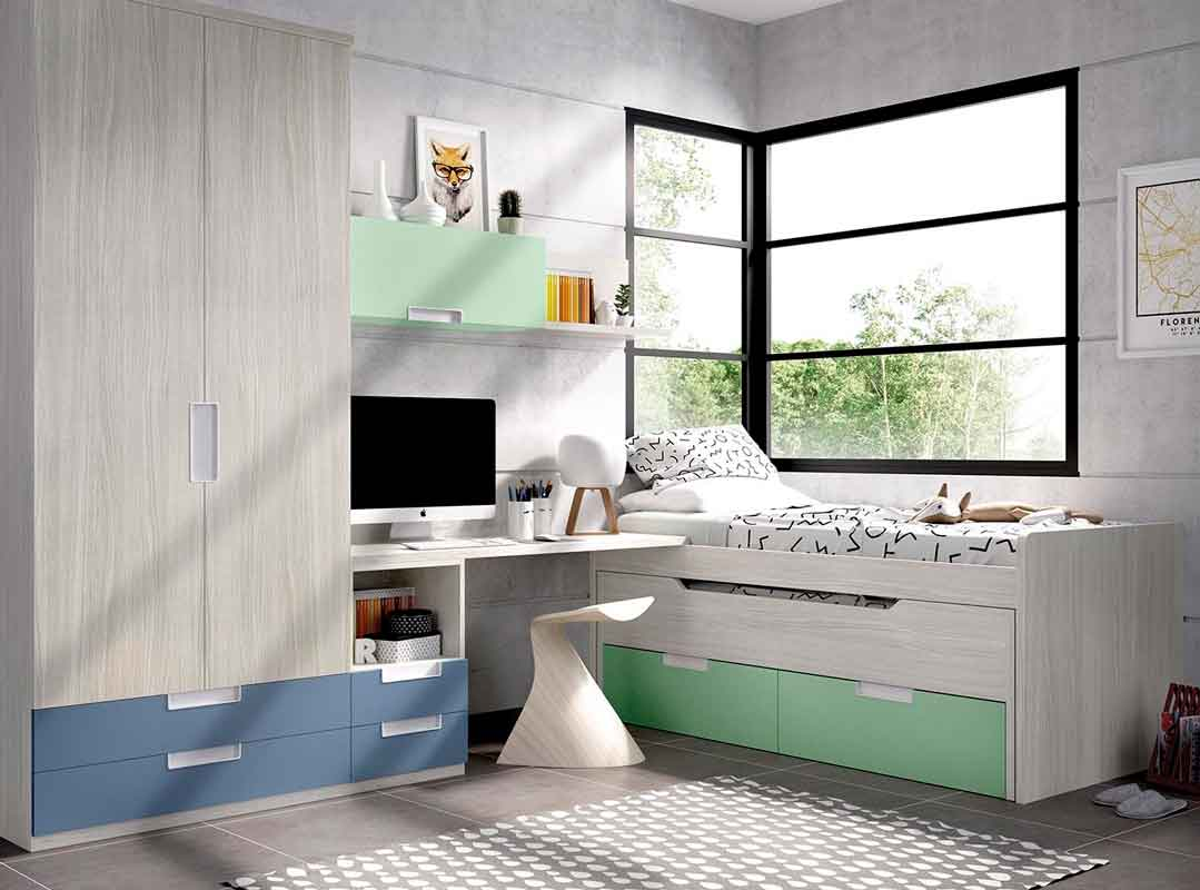 grey wooden kids bed with green cupboard on the bottom of the bed, krevati gkrizo xilo me prasina sirtarakia sto kato meros tou krevatiou, krevati kai gia agoria kai koristia,