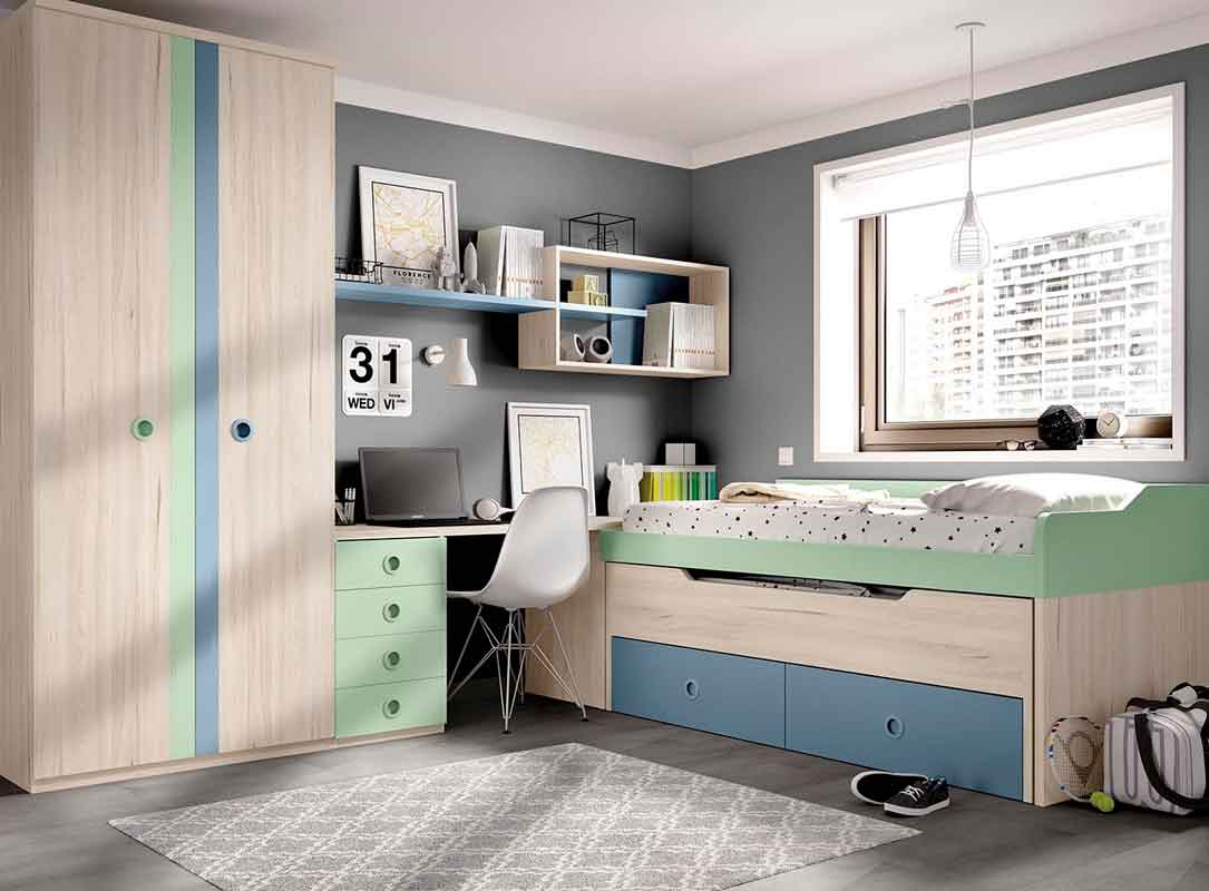 unisex wooden kids bed with green and blue, colorful bed for both girls and boys, xilino krevati prasino me mple xromatismous gia agori kai koritsi,