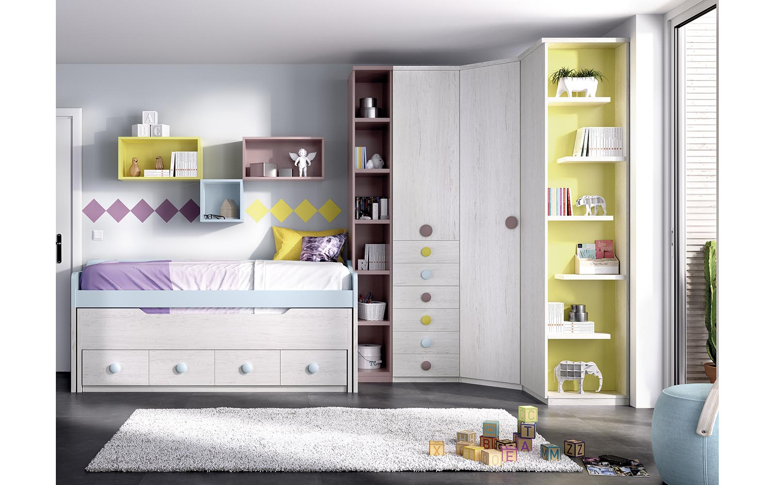 xilino krevati psilo se ipsos me prasinous xromatismous, grey wooden kids bed with green details and space on the bottom of the bed,