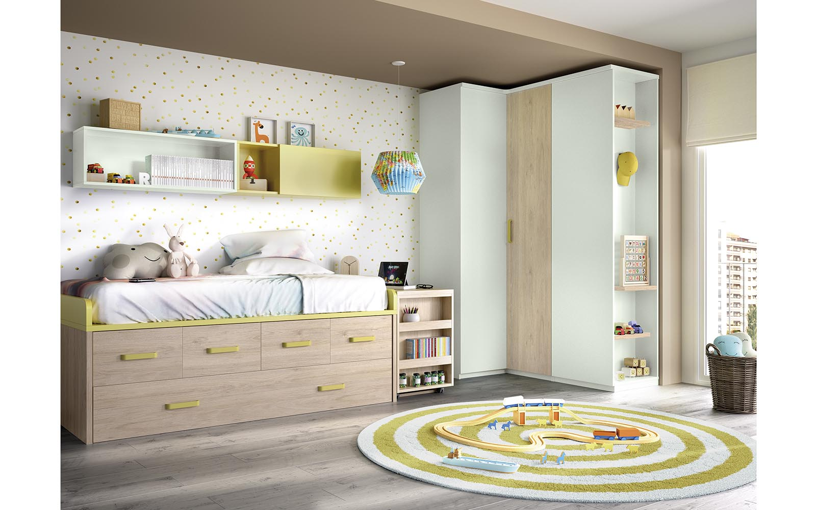 wooden kids bed with green details and space on the bottom, krevati morou xilino me prasines leptomeries,