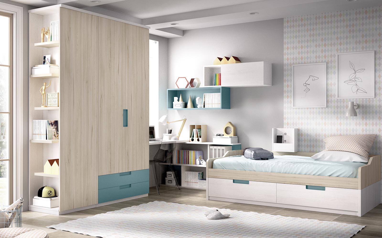 white wooden kids bed with space on its bottom, kids bed with extra space, with cupboards, unisex kids bed, krevati gia agoraki kai koritsaki se anoixtous xromatismous xilino,