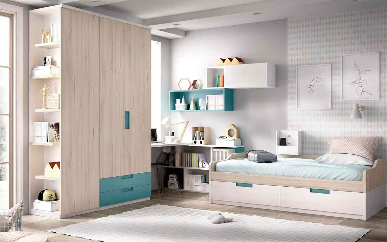 white wooden kids bed with space on its bottom, kids bed with extra space, with cupboards, unisex kids bed, krevati gia agoraki kai koritsaki se anoixtous xromatismous xilino,