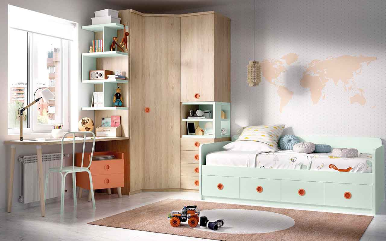 green kids bed with opening space on the bottom of the bed, colorful kids bed with orange details, unisex kids bed,  paidiko krevati me portokalies leptomeries,