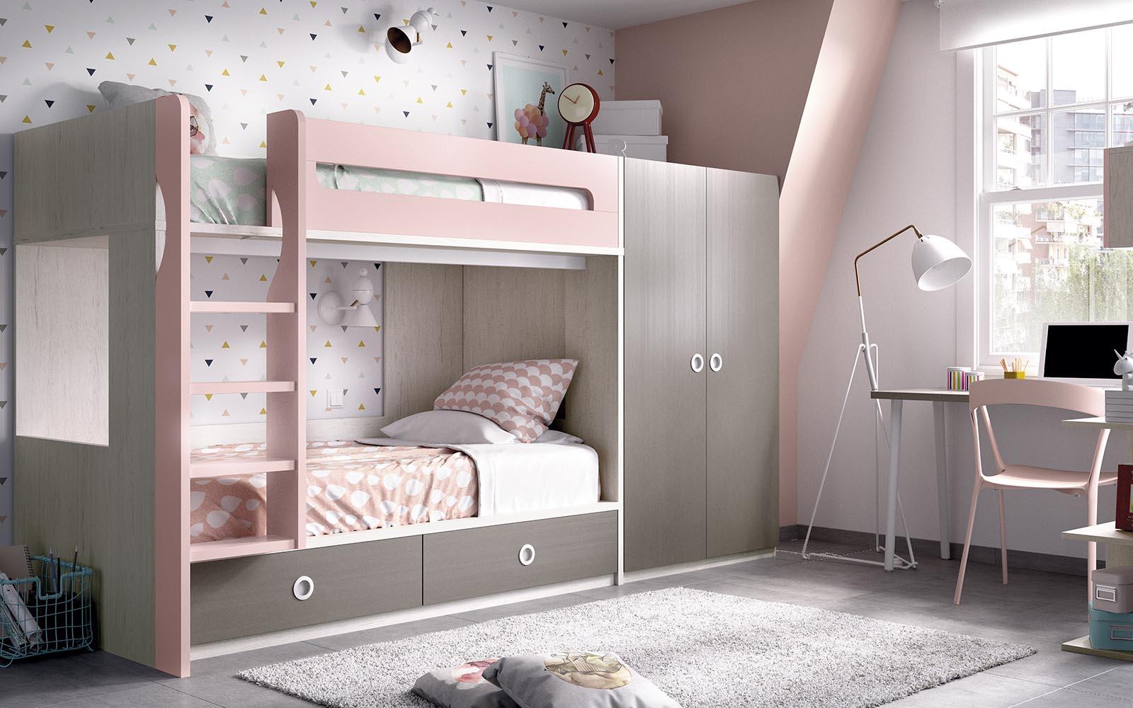 bunk bed, up and down bed, pano kato krevati paidiko, roz xilino krevatii paidiko koritsistiko, girly kids bed with latter,
