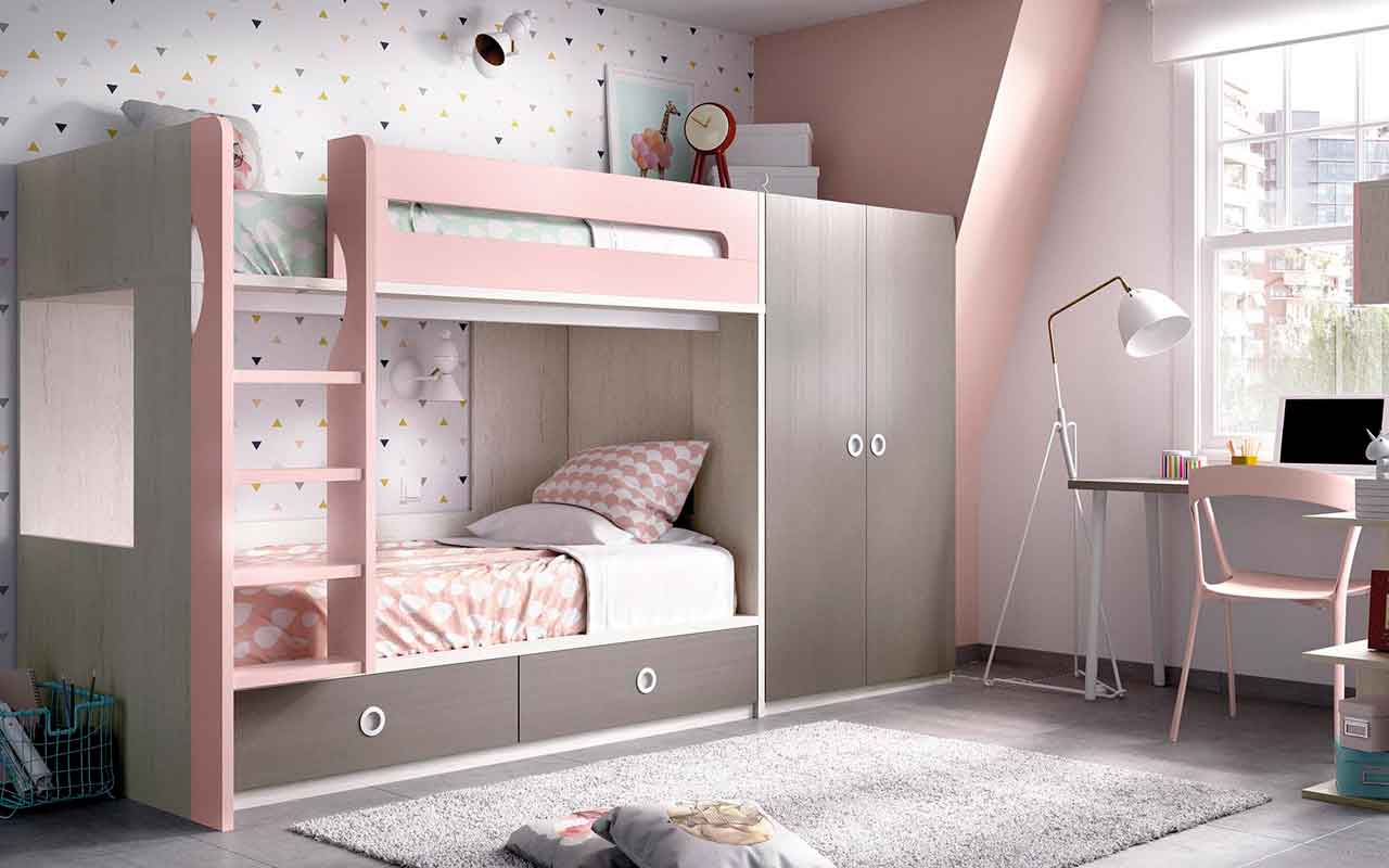 bunk bed, up and down bed, pano kato krevati paidiko, roz xilino krevatii paidiko koritsistiko, girly kids bed with latter,