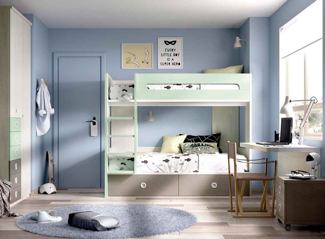 wooden grey with green details, xilino krevati prasino pano kato gia agori, bunk bed with latter for boys,