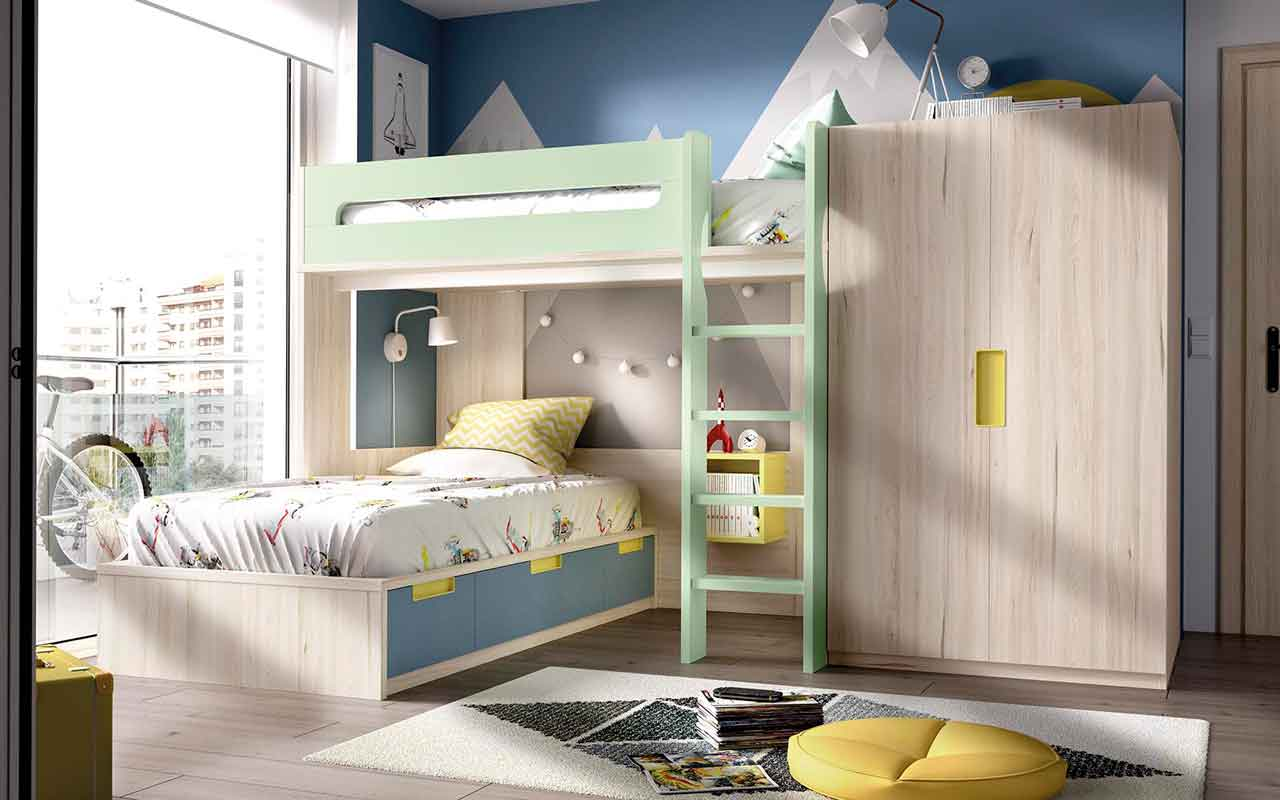 bunk bed for boys with latter and upper bed, xilino krevati me prasines kai mple kitrines leptomeries, colourful bunk bed for 2 children with extra space,