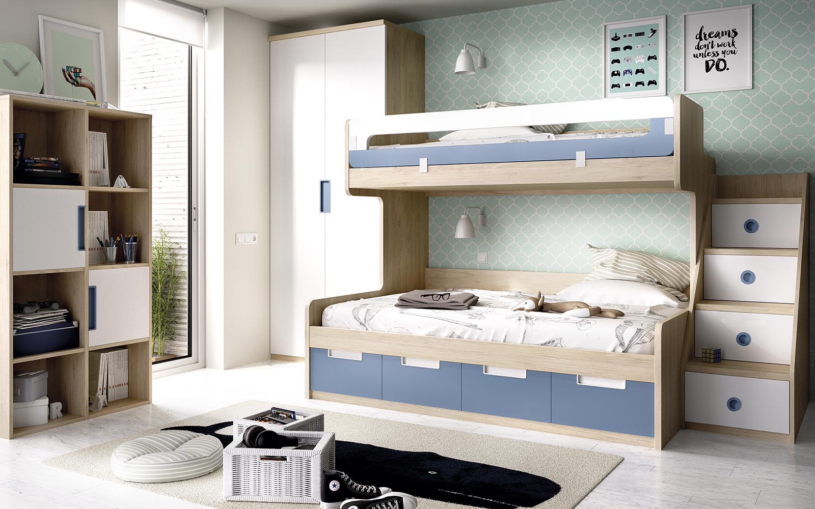 wooden bunk bed with blue and white details, cupboard bunk bed with extra space on the bottom of the space, krevati me xoro apo kato apo to krevati, stairs on the right of the bed,