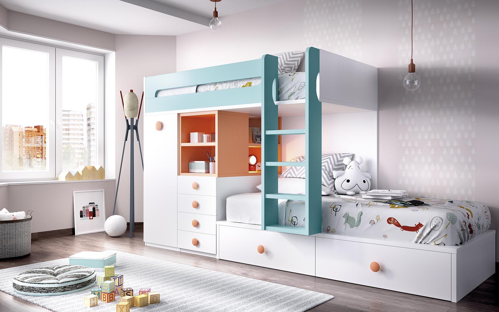 white wooden bunk bed with turquoise stairs, white wooden with orange details, pano kato krevati me extra xoro sto kato meros tou krevatiou,