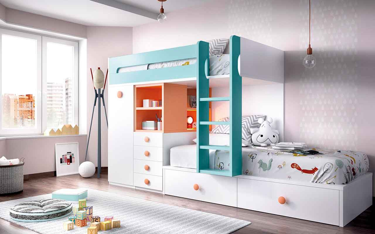 white wooden bunk bed with turquoise stairs, white wooden with orange details, pano kato krevati me extra xoro sto kato meros tou krevatiou,