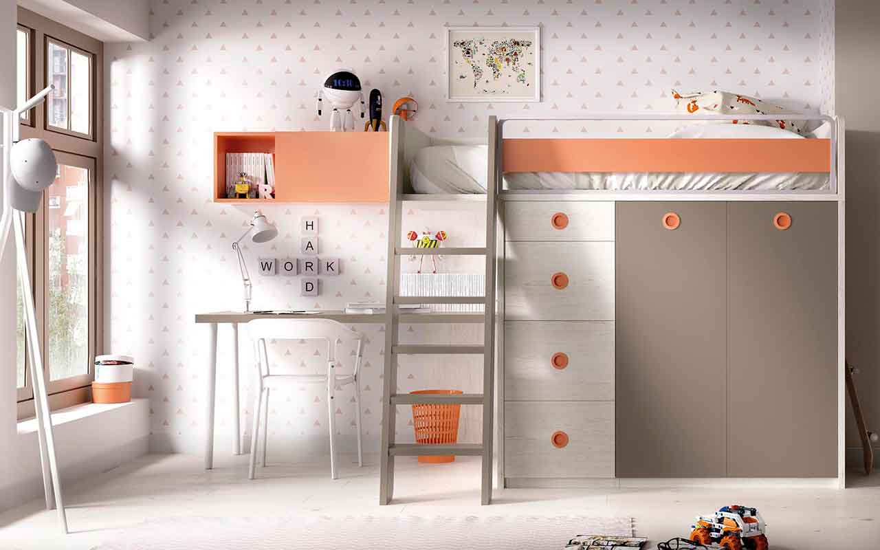 high cupboards with bed on the top of them, bed that is raised on the top of the cupboards, bed raised high enough stairs used, krevati anipsomeno me skala pou anevainis pano,