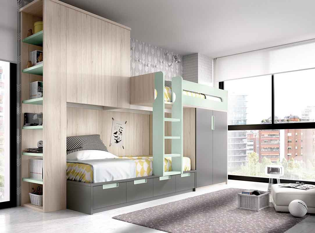 adjustable kids bed bunk bed with stairs unisex grey wooden bed, stairs that leads on the upper bed,