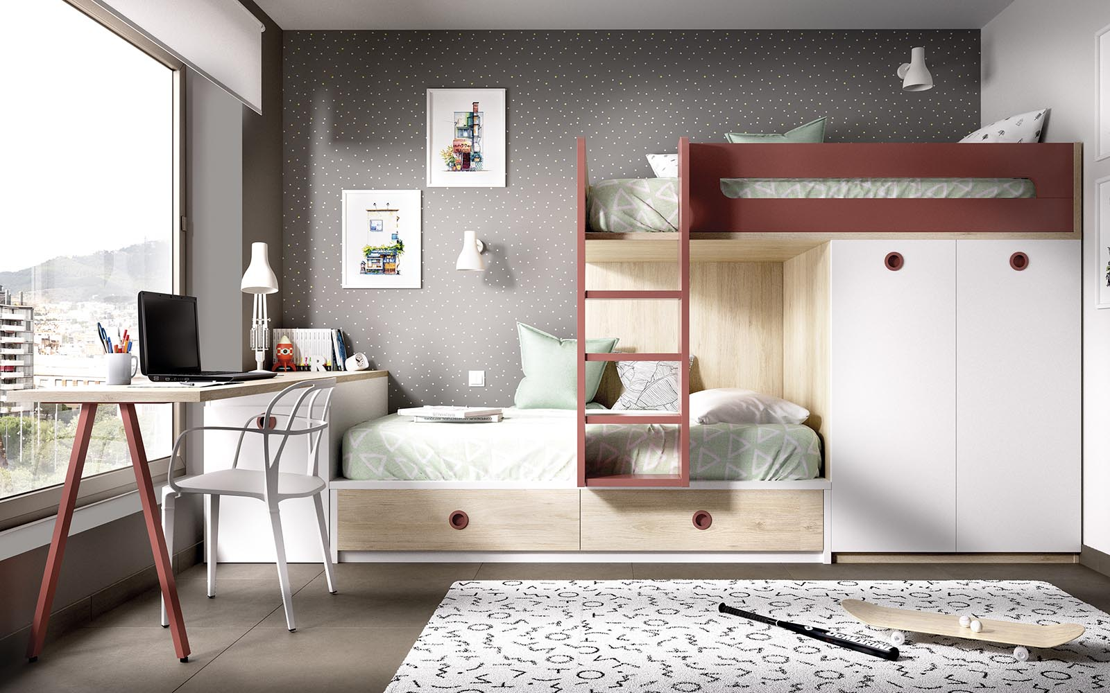 wooden white kids bunk bed with red details, girly bedroom, unisex bedroom wooden bunk bed with cupboards on the bottom of the bed, pano kato krevati me kokkines leptomeries xilino,