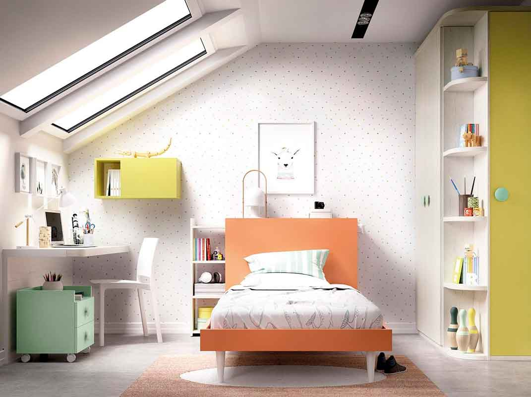 orange wooden kids bed with white high legs, single kids bed orange color with wooden legs, portokali krevati paidiko me xilina aspra podia,