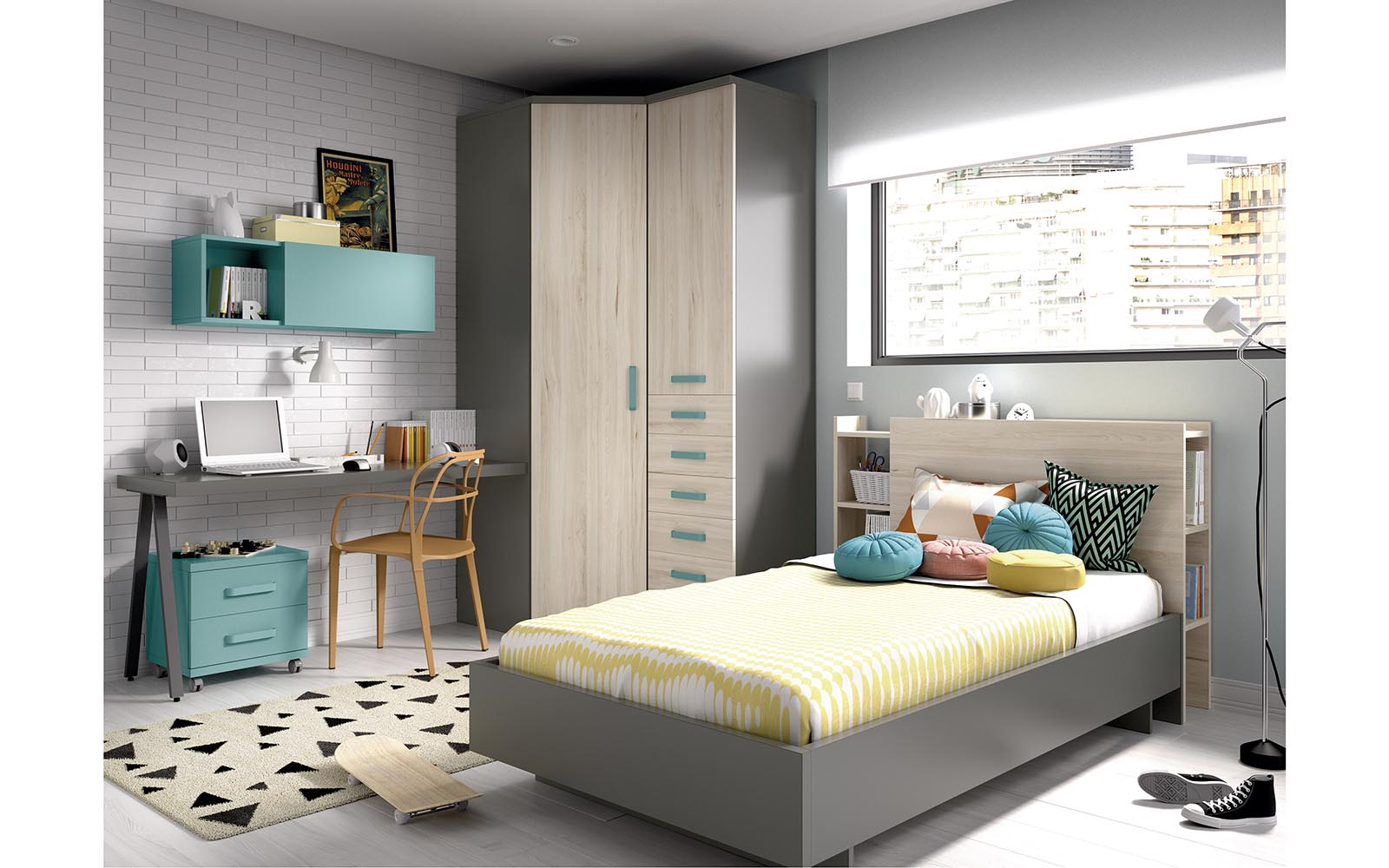 wooden bed with bookcase on its back side, wooden kid bed with space for books at the back, grey wooden, modern kids bed, paidiko krevati me vivliothiki sto piso meros tou krevatiou, gkrizo mono xilino paidiko krevati,