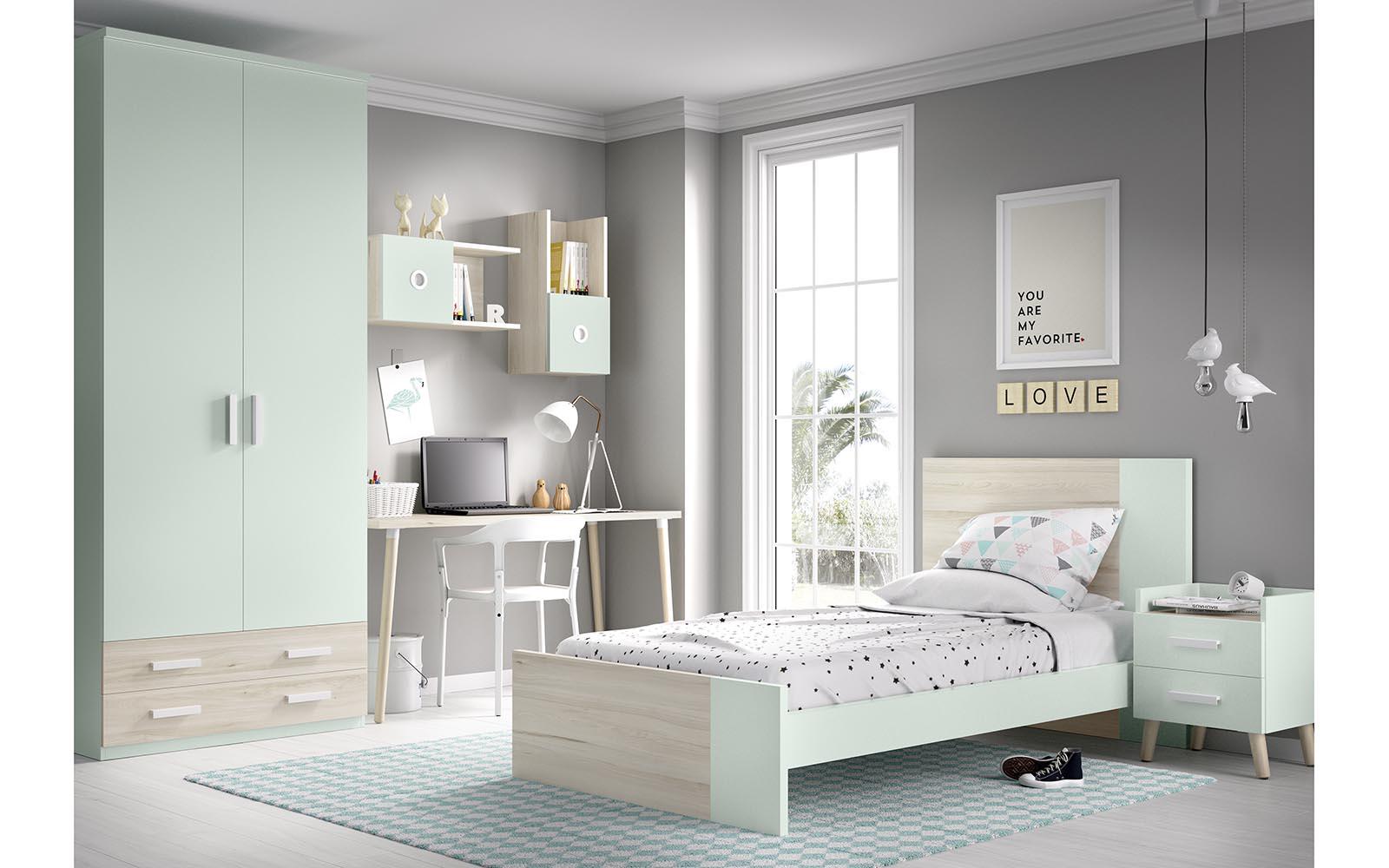 wooden light green single kids bed with high headboard and front, psili kefalaria paidiko krevati anoixto prasino kai xilo,