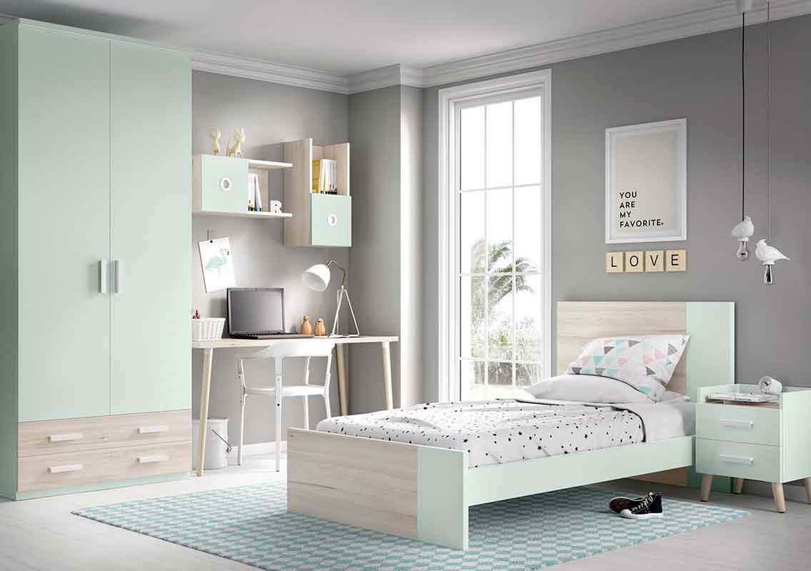 wooden light green single kids bed with high headboard and front, psili kefalaria paidiko krevati anoixto prasino kai xilo,
