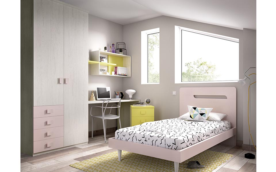 pink wooden kids bed with high grey legs and high pinky headboard, psili kefalaria roz paidiko krevati me psila podia,