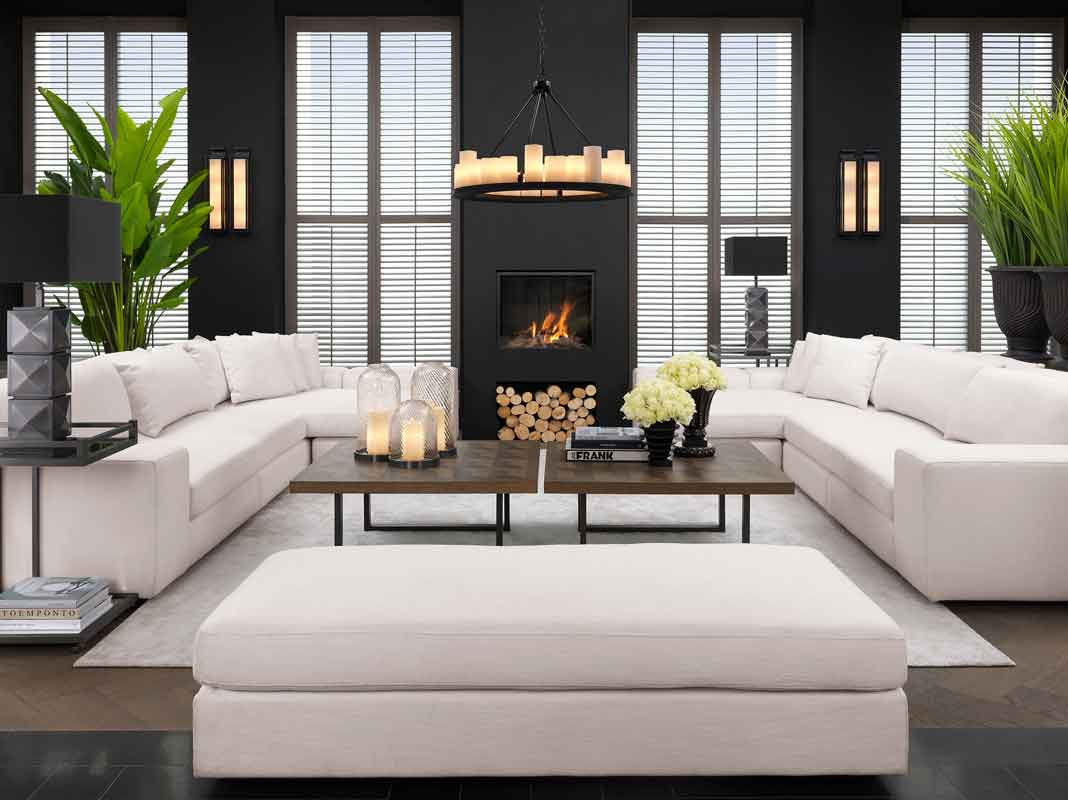 white high in height sofa comfy with huge cushions, wooden square coffee tables with black legs, xilino skouro tetragono kentriko trapezaki me mavra podia,