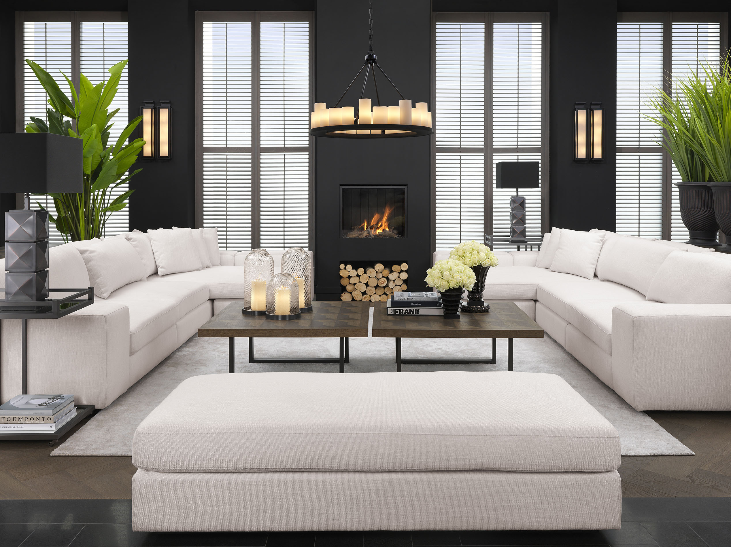 white high in height sofa comfy with huge cushions, wooden square coffee tables with black legs, xilino skouro tetragono kentriko trapezaki me mavra podia,
