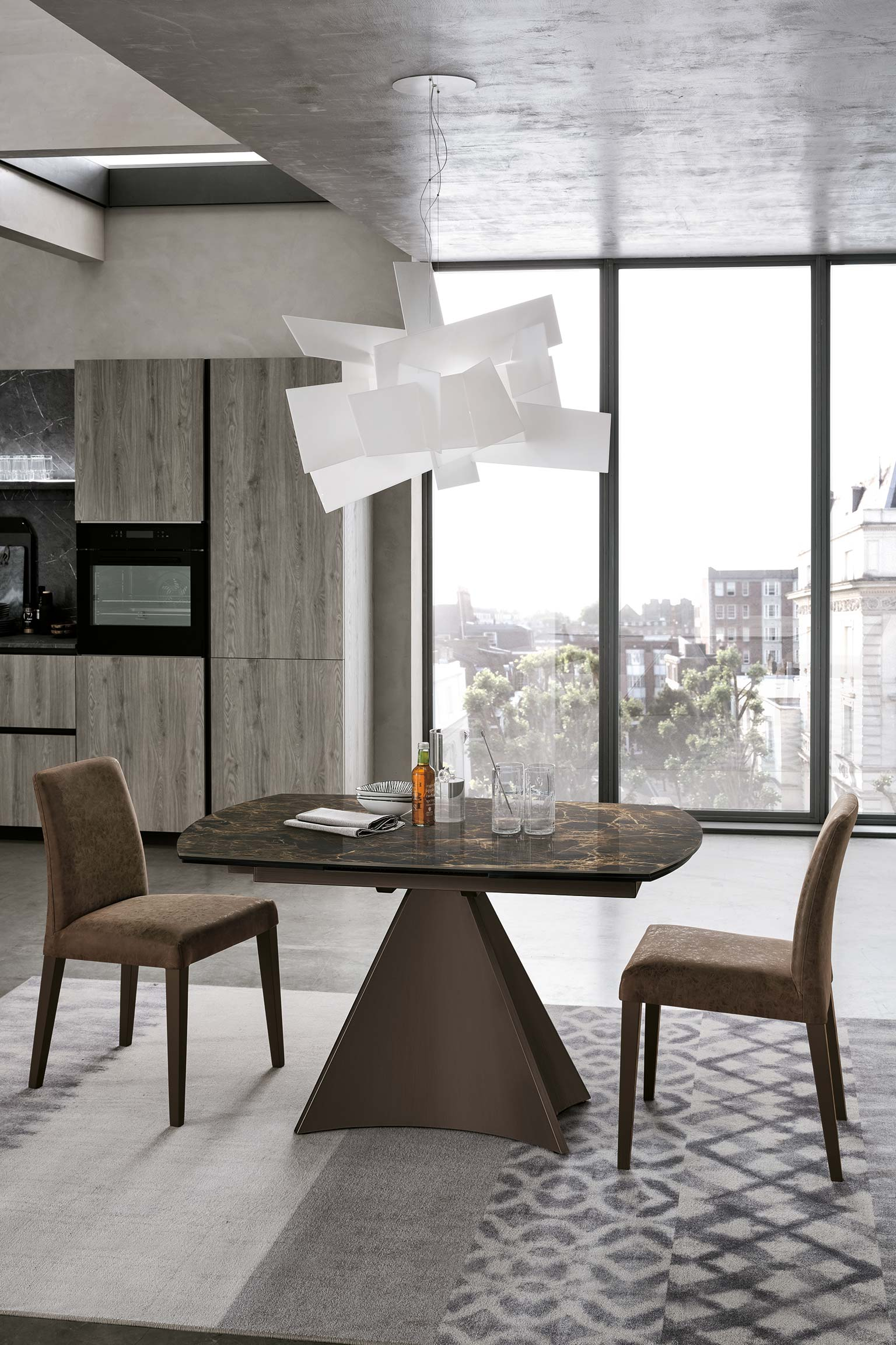 table, modern table, wooden table, trapezi, chairs, brown chairs, karekles, accessories, dining table, kitchen table, andreotti, andreotti furniture, epipla, furniture, limassol, cyprus