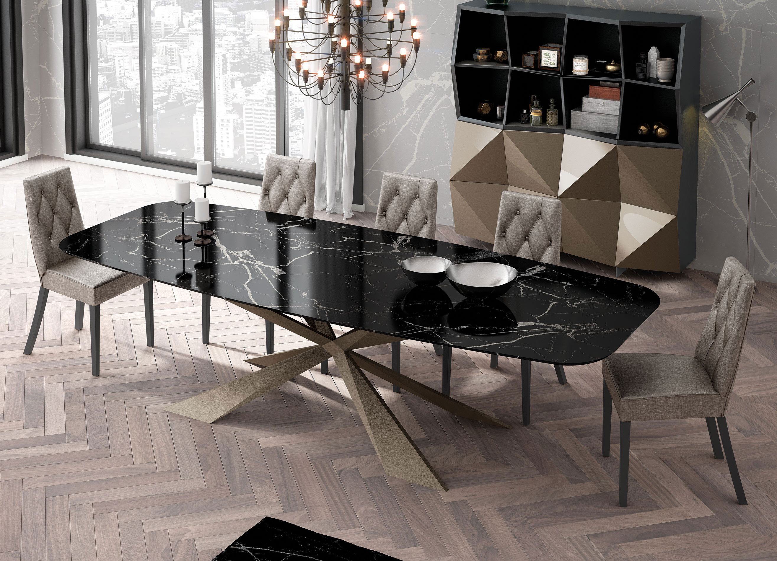 table, modern table, gold legs table,lamina table, trapezi, chairs, grey chairs, karekles, bookshelf, accessories, dining table, kitchen table, andreotti, andreotti furniture, epipla, furniture, limassol, cyprus