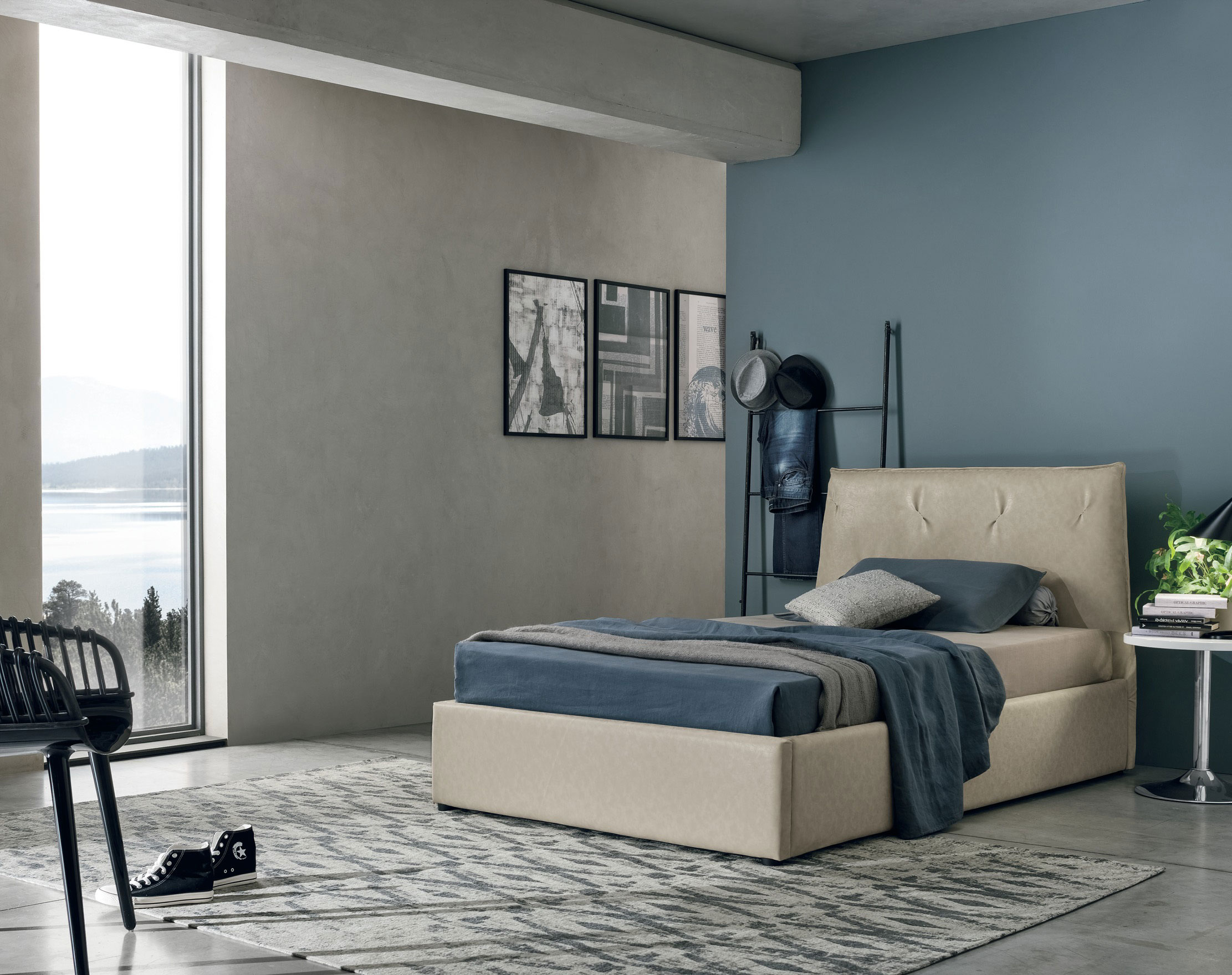 beige leather bed with no legs, modern kids bed ,meseou megethous krevati paidiko dermatino, paidiko krevati xoris podia,